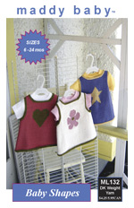 maddy baby Knitting Pattern | ML132 Baby Shapes - Three knitted tops for baby with a star, flower, or heart motif.