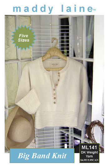 maddy laine Knitting Pattern | ML141 Big Band Knit - Women's pullover with garter stitch trim to knit in DK yarn.